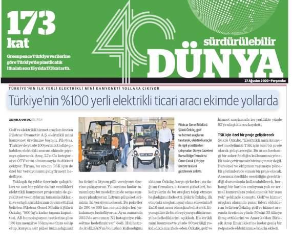 Yeni Modelimiz P-1000 Dünya Gazetesinde.